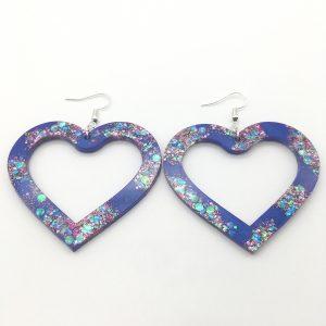 Large Purple Sparkle Heart Earrings