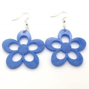 Large Shimmering Blue Flower Earrings