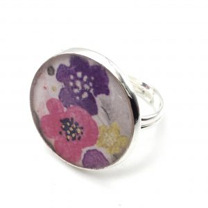 Large Vintage Flower Print Ring