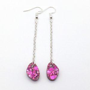 Pink Glitter Pebble Long Drop Earrings