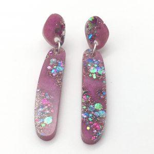 Pink Sparkle Long Drop Earrings