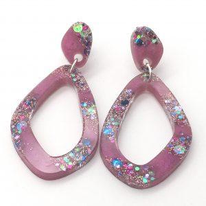 Pink Sparkle Oval Drop Earrings