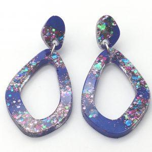 Purple Sparkle Oval Drop Earrings