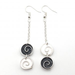 Asymmetric Monochrome Long Drop Earrings