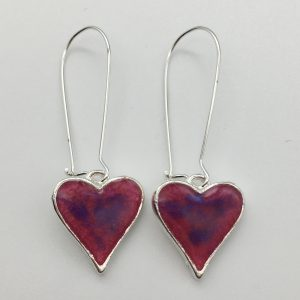Small Shimmering Pink Heart Earrings