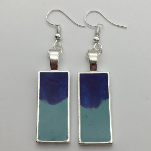 Blue and Green Rectangle Earrings