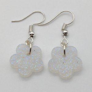 Tiny White Glitter Flower Earrings