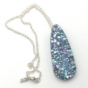 Multicoloured Glitter Large Teardrop Necklace