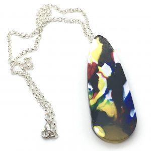 Multicoloured Splatter Large Teardrop Necklace