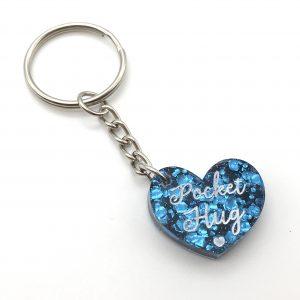 Ocean Blue Glitter Pocket Hug Keyring