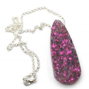 Pink Glitter Large Teardrop Necklace