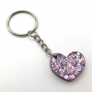 Pink and Purple Glitter Pocket Hug Keyring