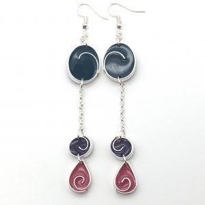 Triple Swirl Long Drop Earrings
