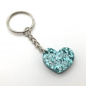 Turquoise Glitter Pocket Hug Keyring
