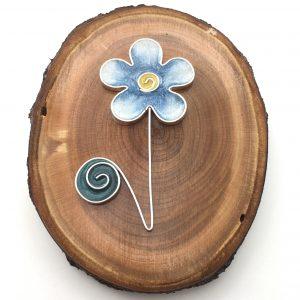 Wood Single Blue Flower Wall Hanging