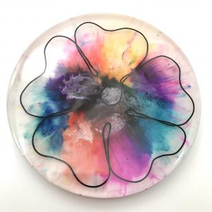 Round Large Ink Flower Wall Hanging