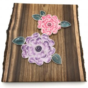 Wood Double Striped Flower Wall Hanging