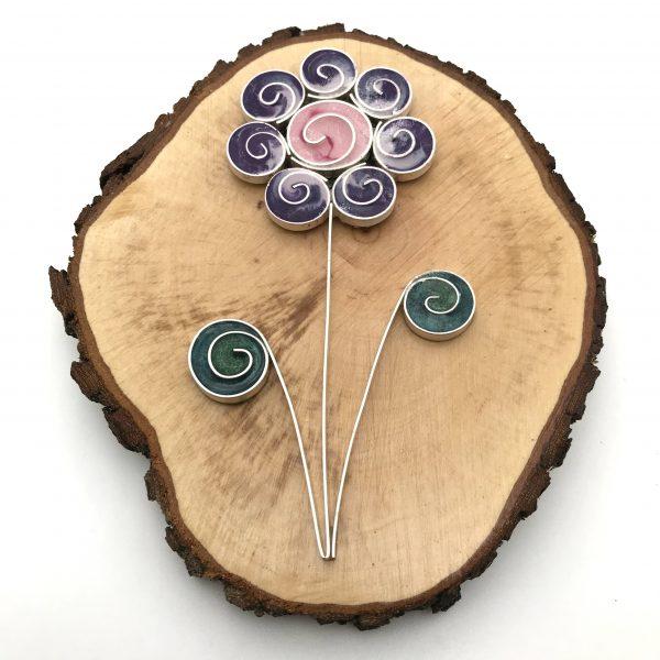 Wood Purple Swirl Flower Wall Hanging