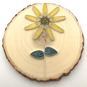 Wood Yellow Swirl Flower Wall Hanging
