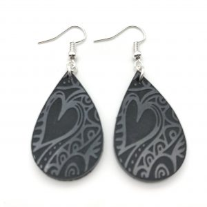 Black Etched Teardrop Earrings