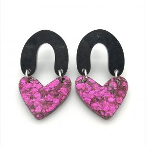 Black to Glitter Double Heart Drop Earrings