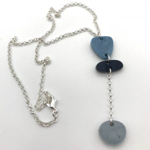 Blue to Grey Long Drop Necklace
