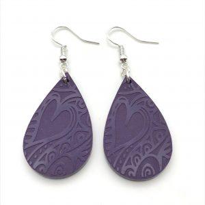 Deep Purple Etched Teardrop Earrings
