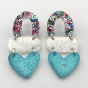 Glitter to Aquamarine Triple Heart Drop Earrings