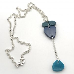 Green to Aquamarine Long Drop Necklace