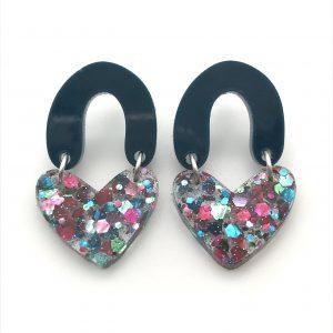 Green to Glitter Double Heart Drop Earrings