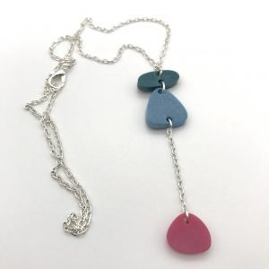 Green to Pink Long Drop Necklace