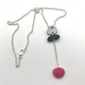 Grey to Pink Long Drop Necklace