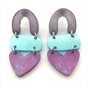 Lilac to Pink Triple Heart Drop Earrings