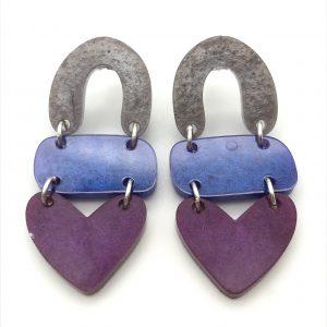 Lilac to Purple Triple Heart Drop Earrings