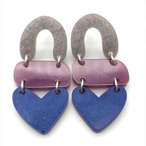 Lilac to Sapphire Triple Heart Drop Earrings
