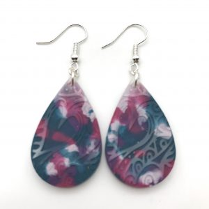 Multicoloured Etched Teardrop Earrings