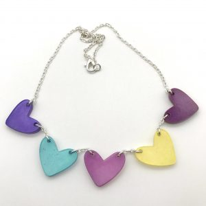 Multicoloured Resin Heart Bunting Necklace