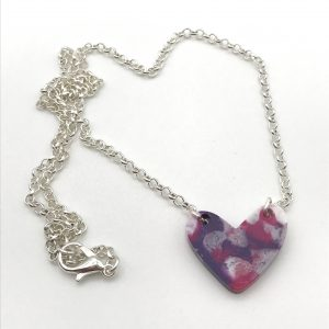Multicoloured Resin Heart Necklace