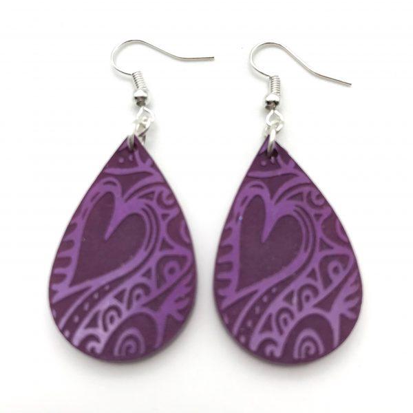 Purple Etched Teardrop Earrings