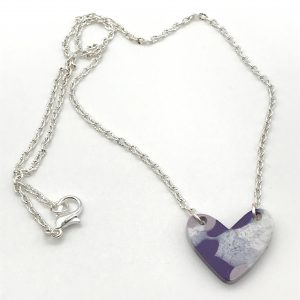 Purple and White Resin Heart Necklace