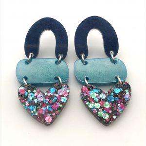 Sapphire to Glitter Triple Heart Drop Earrings