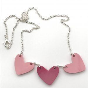 Triple Pink Resin Heart Necklace