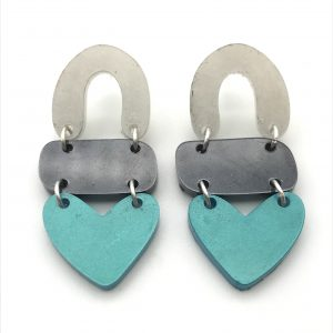 White to Aquamarine Triple Heart Drop Earrings