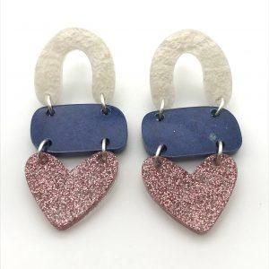 White to Pink Glitter Triple Heart Drop Earrings