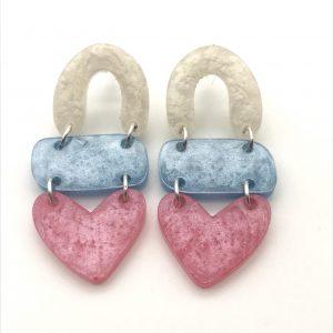 White to Pink Triple Heart Drop Earrings