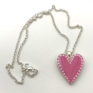 Baby Pink Dot Heart Necklace