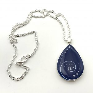 Blue Dot Teardrop Swirl Necklace