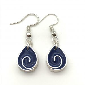 Blue Teardrop Swirl Earrings