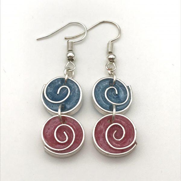 Blue and Pink Swirl Earrings