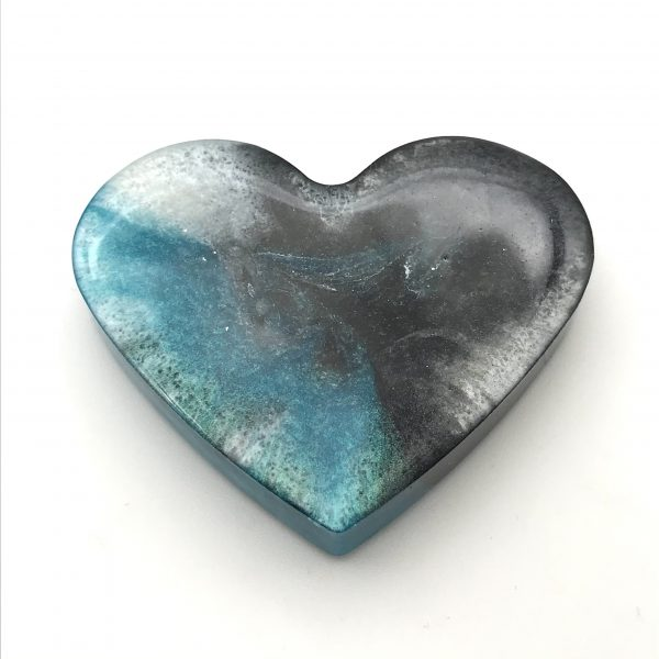 Heart Magnet - Aquamarine Swirl